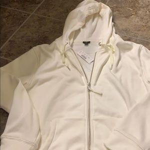 J crew cream fleece lined hoodie